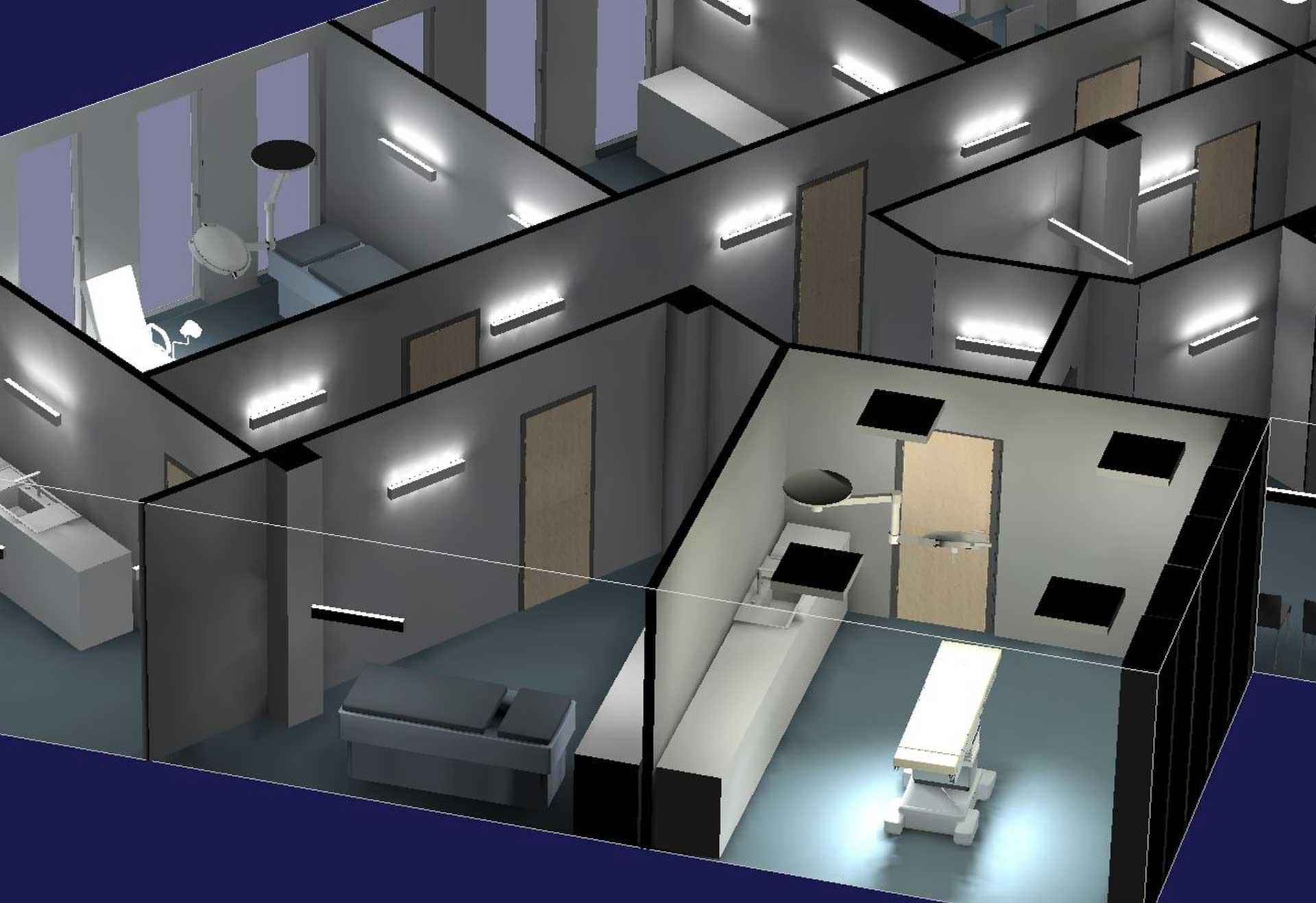 Stilvolles Lichtkonzept zur professionellen und gleichmäßigen Lichtwirkung in Arztpraxis